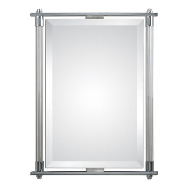 """Uttermost - Adara Vanity Mirror - Ribbed glass columns accented with polished chrome plated details. Mirror features a generous 1 1/4"""" bevel. May be hung either horizontal or vertical."""
