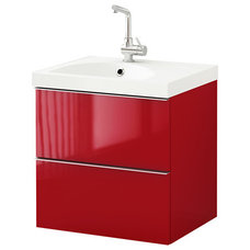 GODMORGON/EDEBOVIKEN Sink cabinet with 2 drawers - high gloss red, 23 5/8x19 1/4