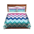 DiaNoche Designs - Duvet Cover Twill by Organic Saturation - Ombre Ikat Chevron - Lightweight and soft brushed twill Duvet Cover sizes Twin, Queen, King.  SHAMS NOT INCLUDED.  This duvet is designed to wash upon arrival for maximum softness.   Each duvet starts by looming the fabric and cutting to the size ordered.  The Image is printed and your Duvet Cover is meticulously sewn together with ties in each corner and a concealed zip closure.  All in the USA!!  Poly top with a Cotton Poly underside.  Dye Sublimation printing permanently adheres the ink to the material for long life and durability. Printed top, cream colored bottom, Machine Washable, Product may vary slightly from image.
