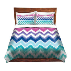 DiaNoche Designs - Duvet Cover Twill by Organic Saturation - Ombre Ikat Chevron - Lightweight and super soft brushed twill Duvet Cover sizes Twin, Queen, King.  This duvet is designed to wash upon arrival for maximum softness.   Each duvet starts by looming the fabric and cutting to the size ordered.  The Image is printed and your Duvet Cover is meticulously sewn together with ties in each corner and a concealed zip closure.  All in the USA!!  Poly top with a Cotton Poly underside.  Dye Sublimation printing permanently adheres the ink to the material for long life and durability. Printed top, cream colored bottom, Machine Washable, Product may vary slightly from image.