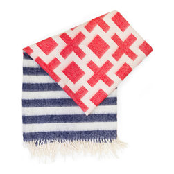 """Jonathan Adler - Jonathan Adler Throw Blanket Richard Nixon Stripe - Jonathan Adler presents colorful, bold designs for the happy and joyous interior. The luxuriously soft Nixon blanket offers a preppy yet versatile statement for living rooms and bedrooms. Hand-loomed by Peruvian artisans, this red, white and blue fringed throw accessory features stripe and geometric patterns. Reverses to opposite colors. Made with 100% baby alpaca. Dry clean only. 60""""W x 60""""H."""