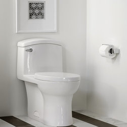 """Roycroft Toilet - Unmistakeably modern. Undeniably gracious in contour and form.• Vitreous china• Elongated bowl design• High efficiency (1.28 gpf/ 4.8 Lpf)• 4"""" Flush valve with chemical resistant flapper• Siphon action jetted bowl with a 2-1/8"""" trapway• Playful and flowing one-piece design• Normal bowl height 15""""• Includes a high quality Duroplast slow-close toilet seat• 9-1/4"""" x 8-1/4"""" water surface area• 12"""" Rough-in• Chrome metal trip lever"""