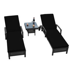 "Reef Rattan - Reef Rattan 3 Pc Islander Chaise Lounger Set Grey Rattan / Black Cushions - Reef Rattan 3 Pc Islander Chaise Lounger Set Grey Rattan / Black Cushions. This patio set is made from all-weather resin wicker and produced to fulfill your needs for high quality. The resin wicker in this patio set won't fade, shrink, lose its strength, or snap. UV resistant and water resistant, this patio set is durable and easy to maintain. A rust-free powder-coated aluminum frame provides strength to withstand years of use. Sunbrella fabrics on patio furniture lends you the sophistication of a five star hotel, right in your outdoor living space, featuring industry leading Sunbrella fabrics. Designed to reflect that ultra-chic look, and with superior resistance to the elements in a variety of climates, the series stands for comfort, class, and constancy. Recreating the poolside high end feel of an upmarket hotel for outdoor living in a residence or commercial space is easy with this patio furniture. After all, you want a set of patio furniture that's going to look great, and do so for the long-term. The canvas-like fabrics which are designed by Sunbrella utilize the latest synthetic fiber technology are engineered to resist stains and UV fading. This is patio furniture that is made to endure, along with the classic look they represent. When you're creating a comfortable and stylish outdoor room, you're looking for the best quality at a price that makes sense. Resin wicker looks like natural wicker but is made of synthetic polyethylene fiber. Resin wicker is durable & easy to maintain and resistant against the elements. UV Resistant Wicker. Welded aluminum frame is nearly in-destructible and rust free. Stain resistant sunbrella cushions are double-stitched for strength and are fully machine washable. Removable covers made with commercial grade zippers. Tables include tempered glass top. 5 year warranty on this product. PLEASE NOTE: Throw pillows are NOT included. Chaise Lounger (2): W 29"" D 78"" H 10"", Coffee Table: W 20"" D 18"" H 10"""