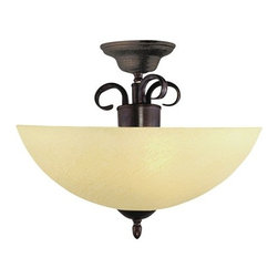 Trans Globe Lighting - Trans Globe Lighting 7215 Two Light Down Lighting Semi Flush Ceiling Fixture - Two light down lighting semi flush ceiling fixture featuring champagne swirl glassRequires 2 100w Medium Base Bulbs (Not Included)