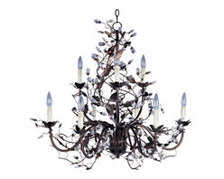 Oil Rubbed Bronze Leaf and Vine Crystal Chandelier Chandeliers Lighting - From Maxim's Elegante collection comes this floral inspired, charming oil rubbed bronze finished nine light chandelier. It features sparkling crystal accents and a leaf and vine motif intertwined around the arms. This two-tiered design is suited for entryways or large dining areas. Also available in smaller sizes and in an Etruscan Gold finish.