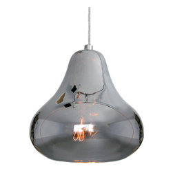 Kiss Pendant Lamp Silver By Luxello LED - Kiss Pendant by Luxello is a modern silver crystal glass pendant lamp. The hand blown glass diffuser is finished in plated silver. The reflective glass shade reflects its surrounding environment. The E26 socket takes various light bulbs from vintage to PAR or LED spot.