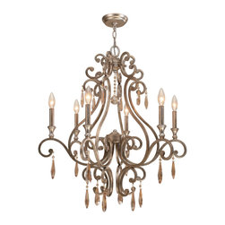 """Crystorama - Shelby Chandelier - Chandelier with the transitional finish, Distressed Twilight, and Golden Shadow hand cut crystals. Takes 6 - 60 w/c bulbs. Chain: 72"""" Wire: 120"""""""