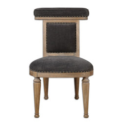 "Uttermost - Tyrah Velvet Accent Chair - Plush, pewter velvet on the welted, padded seat back makes a soft place to lean or put your coat. Trimmed by hand with folded fabric tape and antique brass accent nails, the frame is constructed of solid oak with natural finish and light antiquing glaze. Seat height is 18.5""."
