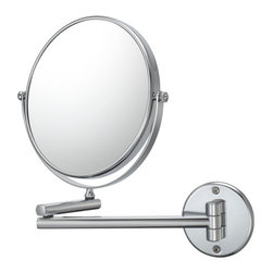 """Double Arm Wall Mirror - 10X - With the Double Arm Adjustable Wall Mirror's classic look, it can make any bathroom look like a relaxing retreat. The 7 7/8"""" diameter, 10x magnified mirrors, as well as the 11 1/2"""" extendable arm allows its owner to lay back and enjoy the view."""