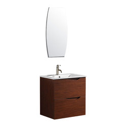 Vigo - 24 in.  Suzetta single Bathroom Vanity with Mirror - The VIGO Suzetta is a luxurious wall mounted art deco inspired style vanity with 2 large drawers under the sink both with soft closing hardware.
