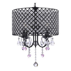 "The Gallery - Wrought Iron 4-Light Round Crystal chandelier Lighting with Pink Cry - 100% crystal chandelier. A Great European Tradition. Nothing is quite as elegant as the fine crystal chandeliers that gave sparkle to brilliant evenings at palaces and manor houses across Europe. This beautiful chandelier has 4 Lights and is decorated and draped with 100% crystal that captures and reflects the light of the candle bulbs. This wonderful chandelier also comes with the large shade as shown. The timeless elegance of this chandelier is sure to lend a special atmosphere anywhere its placed! Shade included. Assembly required. This item also works with energy efficient bulbs (not included). Size: H 16"" x W 17"". 4 Lights."