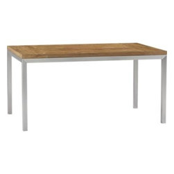 Teak Top/ Stainless Steel Base 60x36 Parsons Dining Table - Start with the perfect base. Clean simple lines in four dining sizes are made of stainless steel with a contemporary matte finish and mitered corners. Top is handcrafted from repurposed teak from Southeast Asia with variations in wood grains, texture and color, knots and other naturally occurring characteristics that add to the distinct character.