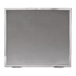 """Inviting Home - Stainless Steel Fireplace Screen - Stainless steel fireplace screen with steel mesh. This fireplace screen is hand-cast in Italy 36""""W x 32""""H hand-crafted in Italy Brushed nickel fireplace screen with crisscross design and black mesh. This fireplace screen is hand-cast in Italy."""
