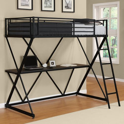 Dorel Home - DHP X Loft Bed - Black - 5440096 - Shop for Bunk Beds from Hayneedle.com! Cool teens deserve a cool bed like the DHP X Loft Bed - Black. Featuring a strong and durable metal frame finished in black this contemporary loft bunk bed is the ultimate space-saving piece for any child or teenager's room. Clean simple lines and X-frame design accentuate the open airy feel. This study loft bed includes a spacious desk that provides a cozy convenient study area for your student. For added security safety rails surround the top bunk while the matching ladder makes climbing up and down safe and easy. This bunk bed accommodates a twin mattress and is sure to maximize space in any dorm room or bedroom.About Dorel IndustriesFounded in 1962 Dorel Industries is a family of over 26 brands including bicycle brands Schwinn and Mongoose baby lines Safety 1st and Quinny as well as home furnishing brands Ameriwood and Altra Furniture. Their home furnishing division specializes in ready-to-assemble pieces including futons microwave stands ladders and more. Employing over 4 500 people in 17 countries and over four continents Dorel is renowned for their product diversity and exceptionally strong commitment to quality.