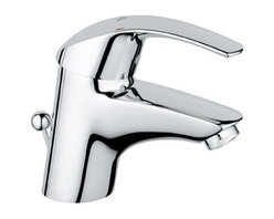 Grohe - Eurosmart Single Hole Bathroom Sink Faucet with Single Handle - NOTE: This item does not ship to California or Vermont Features: -Bathroom sink faucet.-One faucet hole.-Grohe SilkMove ceramic cartridge.-Centerset faucet.-Single lever handle.-Stainless steel braided flexible supplies.-Quick installation system.-2.2 gpm.-ASME/ANSI A112.18.1M listed.-ADA compliant.-Over All Height 5.25''.-Spout Height 1.94''.-Spout Reach 4.25''.-Drain Assembly Included.-Eurosmart collection.-Collection: Eurosmart.-Distressed: No.-Country of Manufacture: Canada.Dimensions: -Overall dimensions: 3'' H x 9'' W x 21'' D.