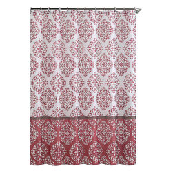 """Shower Curtain- Ashur Red Embossed Microfiber - 72""""x 72"""" - Ashur Red Embossed Microfiber Shower Curtain- 72""""x 72"""""""