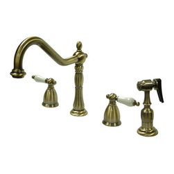 "Kingston Brass - 8"" Widespread Kitchen Faucet with Brass Sprayer - Victorian style Two Handle Deck Mount, 4 hole Sink application, 8"" Widespread, Solid Brass Side Spray, Fabricated from solid brass material for durability and reliability, Premium color finish resist tarnishing and corrosion, 360 degree turn swivel spout, 1/4 turn On/Off water control mechanism, 1/2"" - 14 NPS male threaded inlets, Duraseal washerless valve, 2.2 GPM (8.3 LPM) Max at 60 PSI, Integrated removable aerator, 8-1/4"" spout reach from faucet body, 9-1/4"" overall height, Ten Year Limited Warranty to the original consumer to be free from defects in material and finish.; Brass Sprayer Included; 1/4 Turn Washerless Cartridge; Porcelain Cross Handle; Vintage Brass Finish; 4 Holes Installation with a 8-1/4"" spout reach; Material: Brass; Finish: Vintage Brass Finish; Collection: Heritage"