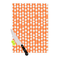 """Kess InHouse - Heidi Jennings """"Orange You Cute"""" Tangerine White Cutting Board (11.5"""" x 15.75"""") - These sturdy tempered glass cutting boards will make everything you chop look like a Dutch painting. Perfect the art of cooking with your KESS InHouse unique art cutting board. Go for patterns or painted, either way this non-skid, dishwasher safe cutting board is perfect for preparing any artistic dinner or serving. Cut, chop, serve or frame, all of these unique cutting boards are gorgeous."""