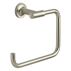 "Kohler - Kohler K-14441-BN Brushed Nickel Purist Modern Open Square Towel Ring - Purist(R) towel ring Purist faucets and accessories combine simple, architectural forms with sensual design lines and careful detailing. Both sculptural and functional, this towel ring promises an inviting visual appeal of classic modernity, and features solid brass construction. Tools are included to simplify installation.  8-7/8""W x 2-13/16""D x 6""H"
