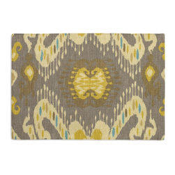 Gray, Yellow & Aqua Ikat Custom Placemat Set - Is your table looking sad and lonely? Give it a boost with at set of Simple Placemats. Customizable in hundreds of fabrics, you're sure to find the perfect set for daily dining or that fancy shindig. We love it in this colorful eclectic ikat cotton print in lilac with touches of mint, orange, & beige.