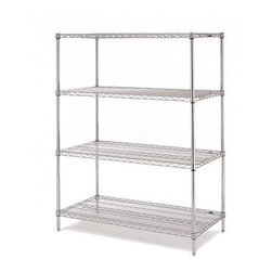Olympic Shelf - Olympic 14 in. Deep 4-Shelf Starter Unit - Ch - Choose Size: 30 in. W x 54 in. H14 inch depth. 24 to 48 in. wide units: 800 lb. capacity per shelf. 54  to 72 in. wide unit: 600 lb. capacity per shelf. Commercial Grade / Industrial Strength. Olympic wire shelving made of carbon-steel will exceed all your storage needs. Open construction allows use of maximum storage space of cube. Each unit includes 4 posts, 4 shelves and split-sleeves to attach shelves to posts. Chrome finishes are perfect for retail applications. Open wire design that minimizes dust accumulation and allows a free circulation of air. Greater visibility of stored items and greater light penetration. Can be loaded/unloaded from all sides. Wire shelving that can change as quickly as your needs change. Shelf wires run front to back allowing for items to slide on and off shelves smoothly. Shelves can be adjusted at 1 inch intervals along entire length of post. Chrome finish is designed for dry, low humidity environments. NSF Approved. Assembly Required