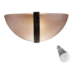 Minka Lighting - Half-Sphere Single-Light Sconce with LED Bulb - 1180-357/8W A-LED - With a stunning half-sphere shade constructed of Venetian Scavo glass, this single-light sconce offers a high-end European look. A metal band adds interest to the center and perfectly accents the warm glass. Includes one 9.5-watt LED bulb based on a breakthrough and patented technology to last 6 times longer than compact fluorescent bulbs and 35 times longer than an incandescent. Features a medium base with white diffuser and vented heat sink. Takes (1) 9.5-watt LED A19 bulb(s). Bulb(s) included. Dry location rated.