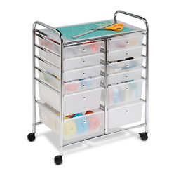Honey Can Do - 12 Drawer Studio Organizer Cart - Includes tools and instructions. 12 easy access drawers. Glides easily into narrow spaces and lock in place for sturdy work. Double wide easy organizer. Sturdy, attractive and functional. Semi transparent drawers for quick content identification. Top shelf and round knob-style drawer pulls. Lifetime limited warranty. Made from steel and plastic. Chrome finish. Assembly required. Drawers : 13.5 in. W x 2.6 in. D x 9.5 in. H ; 13.5 in. W x 5.1 in. D x 9.5 in. H. 25.25 in. W x 15.25 in. D x 31.25 in. H (19 lbs.)Perfect for the home, classroom, or art studio. Perfect for paper, tools, accessories, crafting, scrap booking, or your home office.