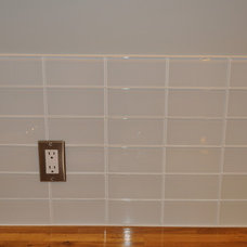Modern Tile Loft Super White glass subway tile.