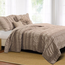 None - Tiana Country Taupe Bonus 5-piece Quilt Set - Elegant and sophisticated,this romantic bedding set combines both ruffles and ruching. Oversized for better coverage on today's deeper mattresses. The quilt set features a silky microfiber face and back and includes two comfortable bonus pillows.