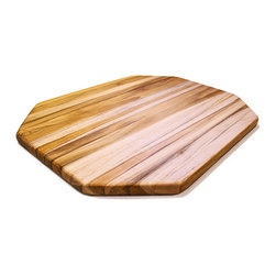 Proteak Edge Grain Octagon 16 x 12 x 0.75 - Showcasing a unique and modern octagon design, this edge grain cutting board showcases warm teak wood on a large 16 inch by 12 inch cutting surface. Teak is a favorite material among chefs, as it is naturally water resistant and requires less maintenance than regular woods such as maple, oak or cherry. Teak wood is often procured from non-sustainable sources, but CuttingBoard.com is happy to note that Proteak products are all made using sustainably harvested plantation teak that is environmentally and socially conscious. Proteak plantations are approved by the Rainforest Alliance as well as the Forest Stewardship Council (FSC) and does not participate in harvesting old growth teak.