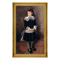 "Pierre Auguste Renoir-16""x24"" Framed Canvas - 16"" x 24"" Pierre Auguste Renoir Marthe Berard (also known as Girl Wearing a Blue Sash) framed premium canvas print reproduced to meet museum quality standards. Our museum quality canvas prints are produced using high-precision print technology for a more accurate reproduction printed on high quality canvas with fade-resistant, archival inks. Our progressive business model allows us to offer works of art to you at the best wholesale pricing, significantly less than art gallery prices, affordable to all. This artwork is hand stretched onto wooden stretcher bars, then mounted into our 3"" wide gold finish frame with black panel by one of our expert framers. Our framed canvas print comes with hardware, ready to hang on your wall.  We present a comprehensive collection of exceptional canvas art reproductions by Pierre Auguste Renoir."
