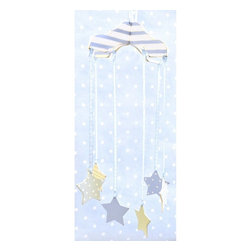 New Arrivals - New Arrivals Blue Stars Wooden Mobile - MB-131 - Shop for Mobiles from Hayneedle.com! Watch as your little boy falls asleep under the stars with the New Arrivals Blue Stars Wooden Mobile. Six colorful striped and polka dot stars hang delicately from a fabric blue and white chevron designed canopy. Fit for standard cribs this adorable mobile is made out of sturdy wood and does not produce a sound.About New Arrivals Inc.New Arrivals Inc. was started 15 years ago by mom-of-three Tori Swaim. What started as a small accessory and gift product line has grown into hundreds of products including bedding nursery and kid s room decor letters and baby gifts. New Arrivals Inc. is your one-stop-shop for designing the baby nursery or kids room of your dreams.