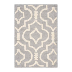 Safavieh - Fabiola Hand Tufted Rug, Silver / Ivory 2' X 3' - Construction Method: Hand Tufted. Country of Origin: India. Care Instructions: Vacuum Regularly To Prevent Dust And Crumbs From Settling Into The Roots Of The Fibers. Avoid Direct And Continuous Exposure To Sunlight. Use Rug Protectors Under The Legs Of Heavy Furniture To Avoid Flattening Piles. Do Not Pull Loose Ends; Clip Them With Scissors To Remove. Turn Carpet Occasionally To Equalize Wear. Remove Spills Immediately. Bring classic style to your bedroom, living room, or home office with a richly-dimensional Safavieh Cambridge Rug. Artfully hand-tufted, these plush wool area rugs are crafted with plush and loop textures to highlight timeless motifs updated for today's homes in fashion colors.