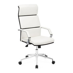 Zuo Modern - Zuo Lider Pro Office Chair in White - Lider Pro Office Chair in White by Zuo Modern This chair has a leatherette wrapped seat and back Cushion ins with chrome solid steel arms with leatherette pads. There is a height and tilt adjustment with a chrome steel rolling base. Dining Table (1)