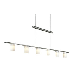 George Kovacs - Counter Weights 6-Light Low Voltage Chandelier - Your dining room redo will finally feel complete once you hang this contemporary chandelier. The steel wire, brushed nickel counterweights and etched opal glass shades of this grand lighting fixture is the crowning jewel in your modern room.