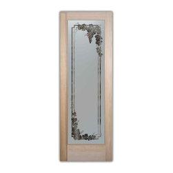 Sans Soucie Art Glass - Pantry Door - Vineyard Grapes Garland Glass, 28 X 1.375 X 80 - Pantry Door - Vineyard Grapes Garland -Hand crafted sandblast etched glass.
