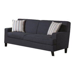 "Coaster - Sofa (Blue) By Coaster - Add some color to your room with the Finley Sofa. Not only is this piece covered in easy to care linen, but the vibrant blue will make a bold statement in your room. Matching pieces available separately. Dims: 76"" X 35"" X 37""."