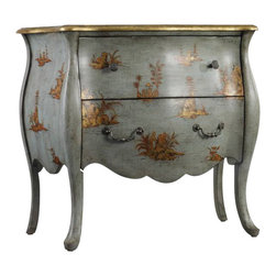 Hooker Furniture - Bombe Chest - Are you attracted to furniture that's chic and elegant and could have had a past life? This bombe chest is glamorous enough to be in the foyer of the Château de Fontainebleau with its hand-painted gold accents and curvy body. Its gorgeous detailing will bring people to a full stop in your space.