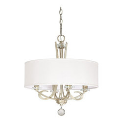 Capital Lighting Fixture Company - Hutton Winter Gold Four Light Chandelier with Drum Shade - -Includes 10-Feet of chain and 15-Feet of wire  -Canopy Length (in.): 5.25  -Canopy Width (in.): 5.25  -Canopy Extension (in.): 0.9  -Full Fixture Lamping: 4-60W-C  -UL Listed. Rated for Dry Environments.  -Shade Dimensions: 19.5-Inches W x 6.5-Inches H Capital Lighting Fixture Company - 4264WG-568