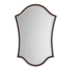 """Grace Feyock - Grace Feyock Abra Traditional Vanity Mirror X-B 48531 - This shapely, beveled mirror features a narrow frame finished in lightly distressed bronze with burnished details. Mirror has a generous 1 1/4"""" bevel."""