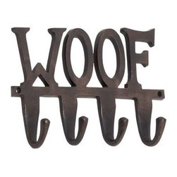 BZBZ28372 - Aluminum Wall Leash Hook Inscribed with The Word Woof - Aluminum wall leash hook inscribed with the word woof. The wall hook is made from sturdy aluminum and sports an antique black finish. The dimensions of the wall hook are 12 x 2 x 7. Some assembly may be required.