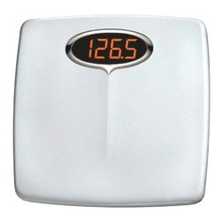 """Taylor Precision Products - Bath Scale Digital - Electronic digital scale with large 1.3 LED readout, super-brite LED are twice as bright as standard LED readouts, accurate to 330 lbs/150kg in 0.5 lbs/0.2kg increments. Rugged high impact styrene construction for durability. Large platform with chrome be  zel accent. 5 year warranty. 13.625"""" x 3"""" x 14""""          Cap Lbs=330"""