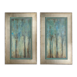 Uttermost - Whispering Wind Framed Art, Set of 2 - These oil reproductions feature a hand applied dabb finish. Frames have a silver leaf base with heavy champagne wash and edges are lightly distressed and accented with a warm sepia tone. Inner lip has a muted aqua blue base with heavy charcoal glaze.
