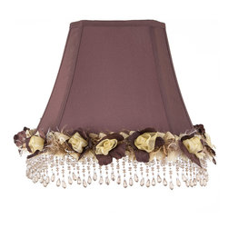 "Brandi Renee Designs - All Lit Up Luminescent Blossom Lamp Shade - Our All Lit Up Luminescent Blossom combines two of our favorite things - ""chocolate"" and flowers - for a romantic edition to the bedroom. The rich chocolate shade is accented with delicate cream roses around the base and beautiful beadwork. Like every BRDesign lampshade, our All Lit Up Luminescent Blossom lampshade is handcrafted from the finest quality materials."