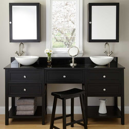 """72"""" Taren Black Double Vessel Sink Vanity with Makeup Area - Transform your master bath in unparalleled style with the 72"""" Taren Double Vanity, featuring an enviably spacious makeup area and sophisticated Black finish."""