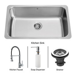 Vigo - Vigo Undermount Stainless Steel Kitchen Sink, Faucet, Strainer and Dispenser - If sophistication and style fits your taste, then show it with a Vigo kitchen sink set.