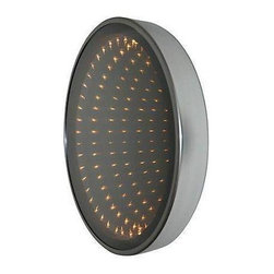 """Pre-owned 1970s Illuminated Infinity Mirror - A vintage illuminated infinity wall mirror by Earl Reiback in 1977. Earl Reiback (1932-2006) was an accomplished artist and his works are displayed at The Whitney Museum and the Philadelphia Museum of Art. This particular mirror measures 25.5"""" in diameter and is in excellent condition."""