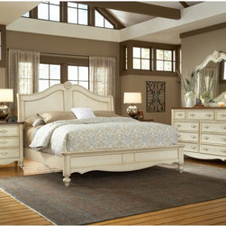 Chateau Sleigh Bed - The Chateau Sleigh Bed evokes the spirit of a sprawling French estate, making any home feel like a villa. Made from mahogany solids and select mahogany veneers, this handsome piece features an antique white finish that provides your bedroom with a pacifying air, drawing the eye but never demanding it. The low footboard is balance by a tall headboard that features a captivating carved accent as its capstone. This piece is sure to become the centerpiece of your new bedroom design and looks great with a variety of styles.Bed Dimensions:King: 95L x 85W x 62H inchesQueen: 95L x 69W x 62H inchesAbout American WoodcraftersFor unparalleled quality and value, choose American Woodcrafters for your youth or master bedroom furniture. Founded in 1996 as a division of Rockford Capital Corporation and located in High Point, N.C., American Woodcrafters is the brainchild of John N. Foster. His 40 years of experience in manufacturing, marketing, and product development inspire the company to deliver superior furniture designs of exceptional value. Each exquisite furniture piece is well-made and creatively styled, with a fine quality finish and innovative features to make your home more beautiful and functional.