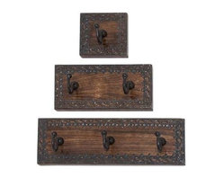 """BZBZ14442 - Wood Metal Wall Hook Set of Three - Wood Metal Wall Hook Set of Three. The wood metal wall hook Set of three Plaques is embellished with minimalistic floral pattern along the edges of each plaque that is both beautiful and functional in design. The wood metal wall hook Set of three Plaques come in dimensions of 4""""W x 3"""" D x 4""""H (4 Inches), 8""""W x 3""""D x 4""""H (8 Inches), and 12""""W x 3""""D x 4""""H (12 Inches). Some assembly may be required."""