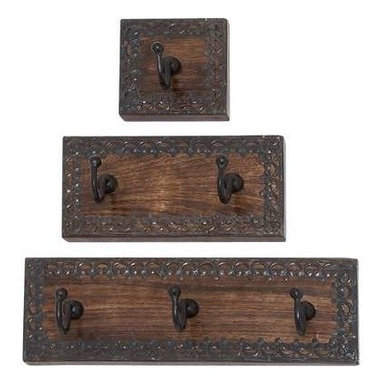"BZBZ14442 - Wood Metal Wall Hook Set of Three - Wood Metal Wall Hook Set of Three. The wood metal wall hook Set of three Plaques is embellished with minimalistic floral pattern along the edges of each plaque that is both beautiful and functional in design. The wood metal wall hook Set of three Plaques come in dimensions of 4""W x 3"" D x 4""H (4 Inches), 8""W x 3""D x 4""H (8 Inches), and 12""W x 3""D x 4""H (12 Inches). Some assembly may be required."